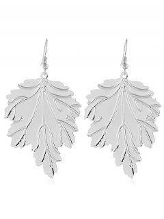 Metal Leaf Shaped Hook Earrings - Silver