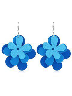 Layered Flower Pattern Hook Earrings - Ocean Blue