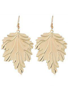 Metal Leaf Shaped Hook Earrings - Gold