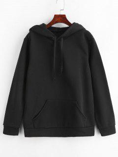Front Pocket Solid Color Hoodie - Black M