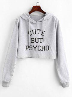 Letter Graphic Pattern Crop Hoodie - Light Gray L