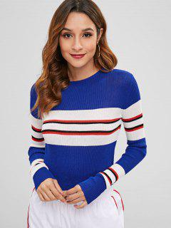 Long Sleeve Ribbed Striped Tee - Blue L