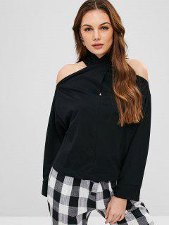Crisscross Cold Shoulder Top - Black