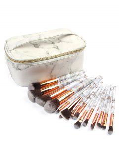 15 Pcs Marble Handles Cosmetic Brush Collection With Bag - Platinum