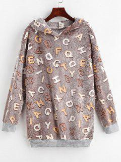 Letter Graphic Loose Fluffy Hoodie - Multi-b L