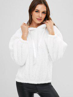 Fluffy Drop Shoulder Hoodie - White