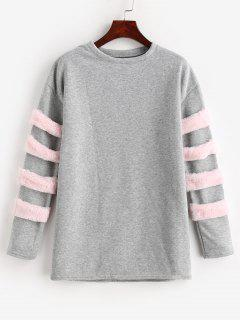 Faux Fur Embellished Longline Sweatshirt - Gray M