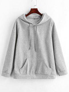 Front Pocket Solid Color Hoodie - Light Gray Xl