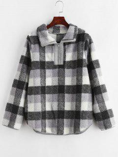 Half Zip Plaid Faux Fur Sweatshirt - Gray M