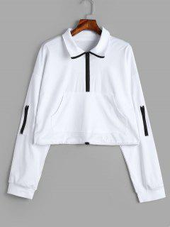 Loose Half Zip Sweatshirt - White Xl