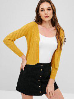 Botón Con Cuello En V Hasta Cardigan Ajustado - Amarillo Brillante