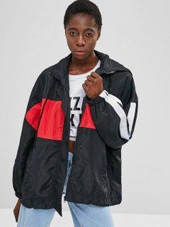 Oversized Windbreaker Track Jacket - Black