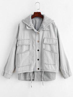 Hooded Waistcoat And Denim Jacket Set - Light Gray M