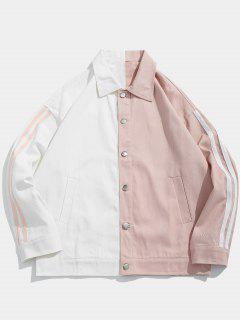 Veste En Jean à Blocs De Couleurs à Rayures Latérales - Blanc L