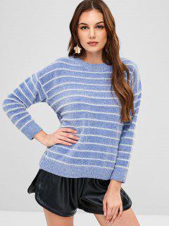 Fuzzy Striped Sweater - Pastel Blue