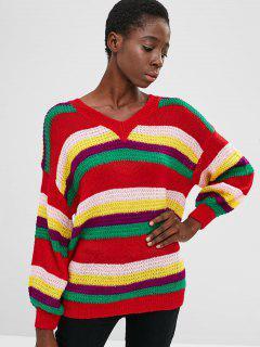 Suéter De Rayas De Colores Con Cuello En V - Multicolor