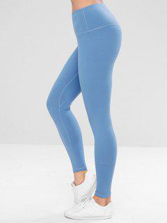 ZAFUL Wide Waistband Skinny Workout Leggings - Day Sky Blue S
