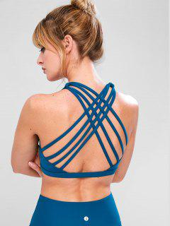 ZAFUL Strappy Exercise Bra - Peacock Blue M