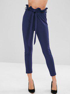 Belted Ruffle Skinny Pants - Deep Blue L