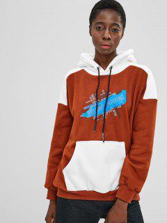 Graphic Fleece Pullover Hoodie - Brown