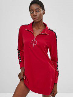 ZAFUL Half Zip Grommet Sweatshirt Dress - Red L