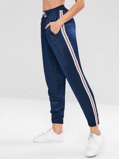 Pantalon De Jogging Sport à Contraste Latéral - Bleu De Minuit L