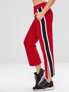 Slit Contrast Side Athletic Pants - Red M
