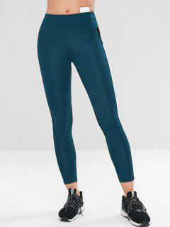 Color Block Gym Yoga Leggings - Peacock Blue M