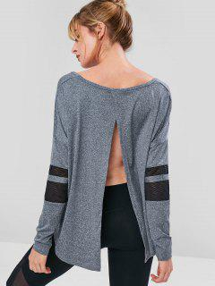 Heather Drop Shoulder Perforated Insert T-shirt - Gray S