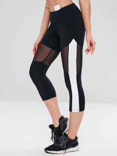 Mesh Panel Capri Gym Yoga Leggings - Black M
