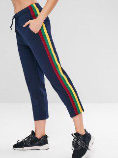 Drawstring Contrast Side Gym Pants - Midnight Blue L