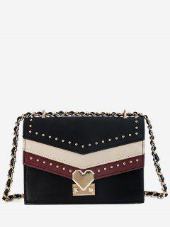 Rivet Desgin Hit Color Splicing Crossbody Bag - Black