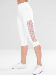 Lace Panel Gym Capri Yoga Leggings - White M