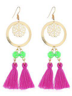 Bohemian Round Shape Tassel Hook Earrings - Dark Carnation Pink