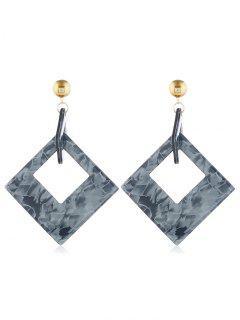 Geometric Hollow Rectangular Shape Earrings - Gray