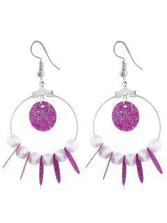 Sparkling Beaded Circle Shaped Hook Earrings - Plum