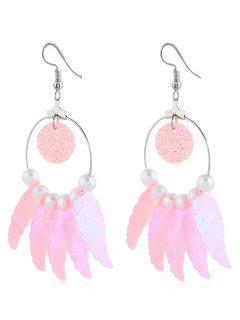 Beaded Dreamcatcher Pattern Drop Earrings - Light Pink