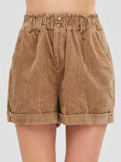 Short En Velours Côtelé à Revers - Marron Camel M