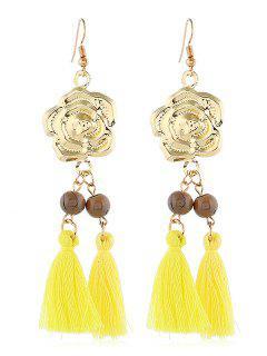 Flower Pattern Tassel Beaded Hook Earrings - Yellow