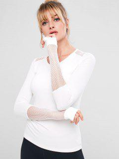 Slim Fishnet Panel Padded Gym Tee - White S