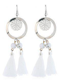 Bohemian Round Shape Tassel Hook Earrings - Milk White