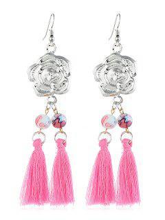 Flower Pattern Tassel Beaded Hook Earrings - Hot Pink