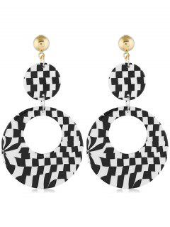 Geometric Color Block Design Circle Earrings - Black