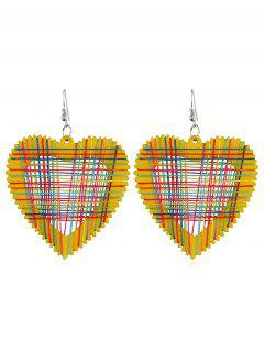 Heart Decoration Hollow Out Earrings - Rubber Ducky Yellow