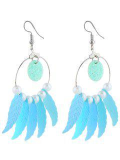 Beaded Dreamcatcher Pattern Drop Earrings - Blue Zircon