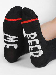 Novelty BEER ME Pattern Mid Calf Socks - Black