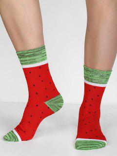Watermelon Print Christmas Socks - Red