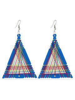 Geometric Triangle Shape Knitted Earrings - Dodger Blue