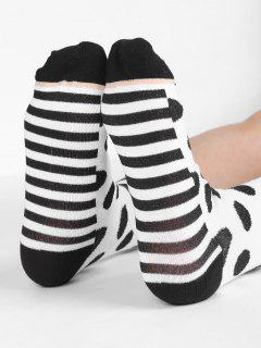 Vintage Polka Dot Striped Crew Socks - White