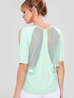 Mesh Insert Cold Shoulder T-shirt - Mint Green M